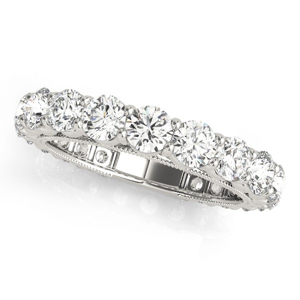 14k White Gold Thick Eternity Diamond Wedding Band 2 63ct